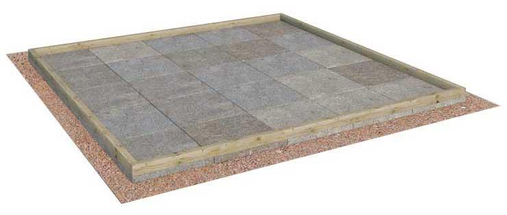 Plattenfundament aus Wegeplatten