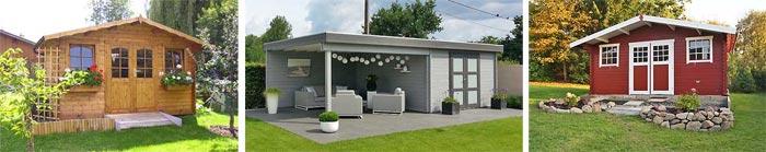 Gartenhaus planen: farbige Gartenhäuser