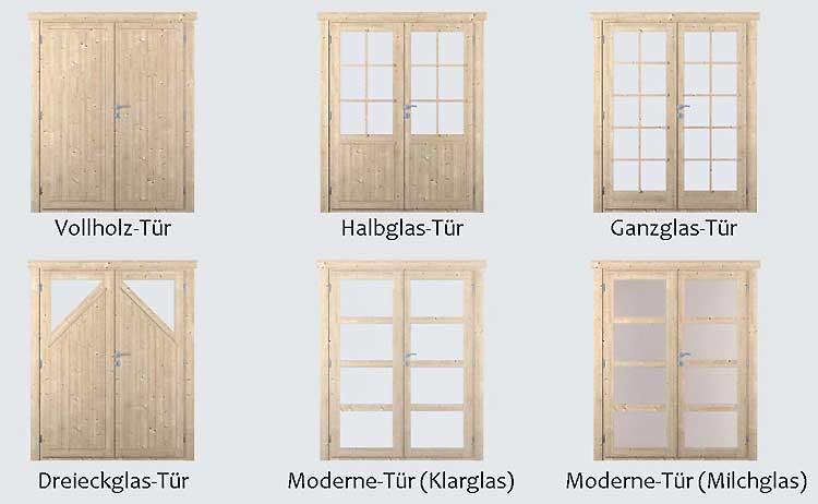 sechs Türen zur Auswahl