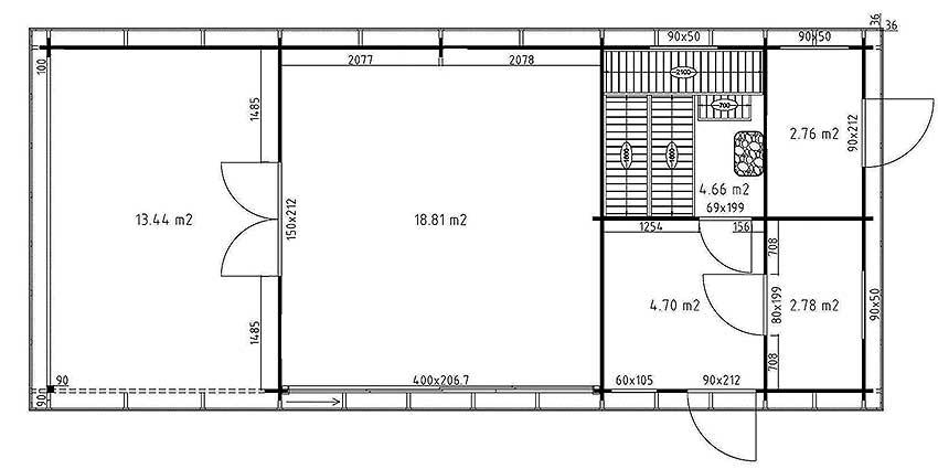 Gartenhaus mit Sauna, Terrasse und Geräteraum - Grundriss