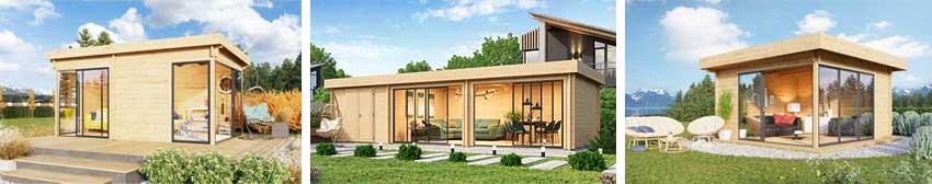 Drei Lounge Gartenhäuser