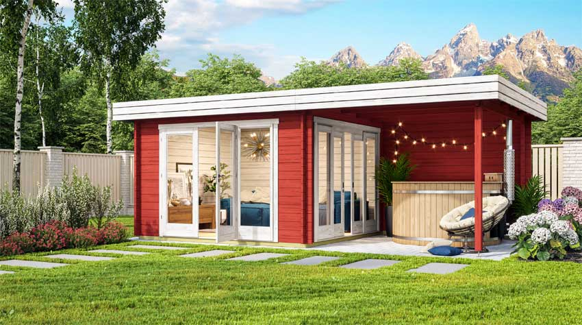 modernes Gartenhaus in shwedenrot