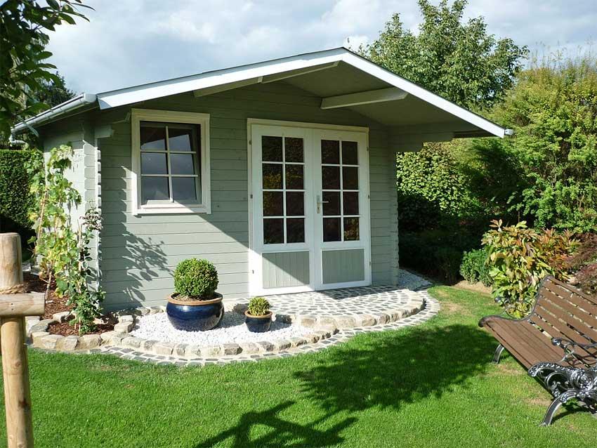 klassisches Gartenhaus grau-weiss