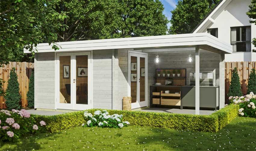 Gartenhaus Ranja, hellgrau-weiß