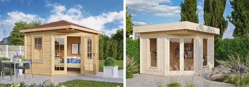 5-Eck-Gartenhäuser mit viereck- und Flachdach