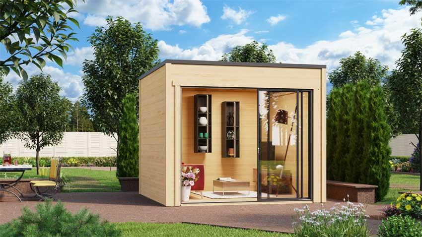 Gartenhaus mit Flachdach, ca. 3 x 3 m