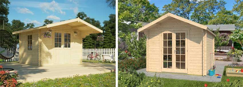 kleine Gartenhäuser mit tiefem Vordach