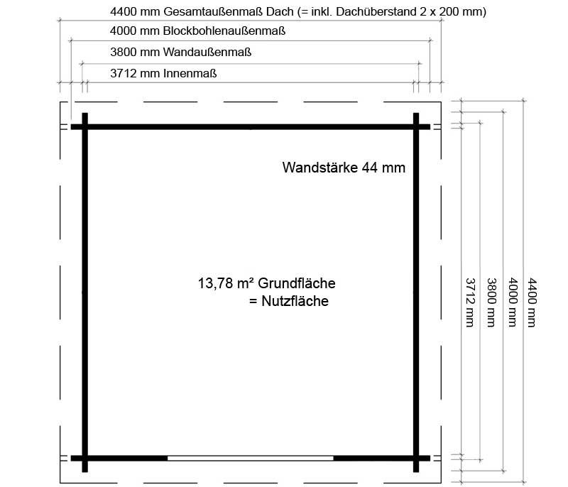 Massangaben Gartenhaus 400 x 400 cm