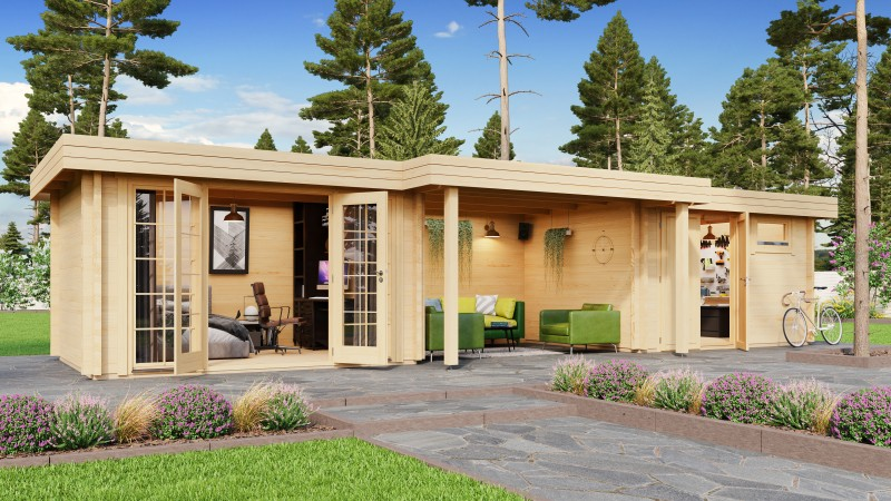 Flachdach Gartenhaus Modell Yuna 70 B