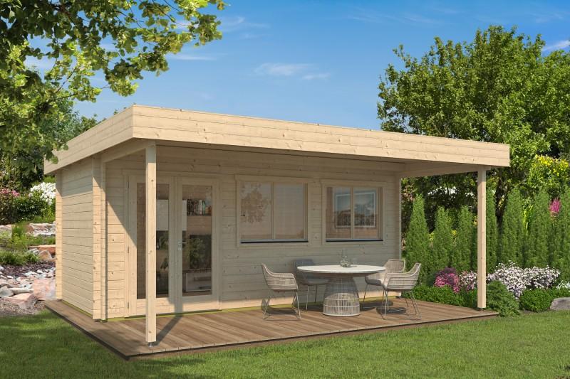 Gartenhaus Modell Kurt 44 A mit Vordach