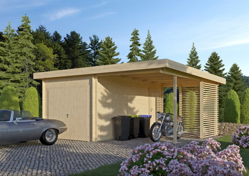 Holzgarage mit Carport Modell Gettorf 70
