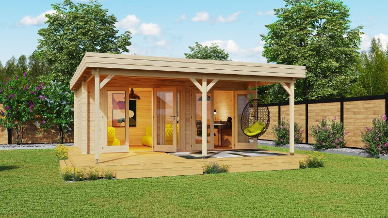 Flachdach Gartenhaus Modell Rose 70