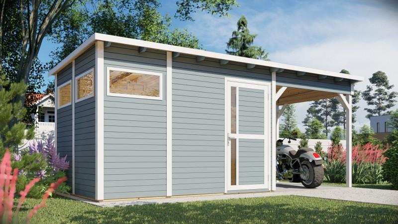 Gerätehaus Modell Pulti mit Anbau Größe 3 grau