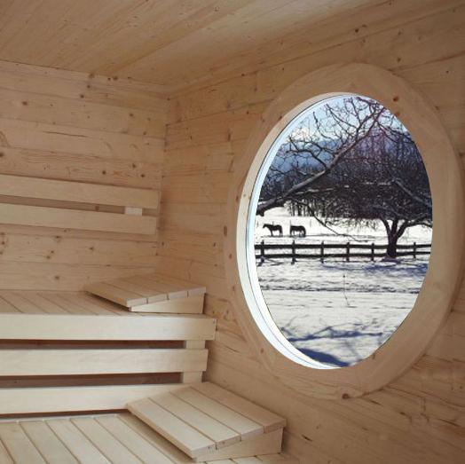 Rundfenster im Saunaraum