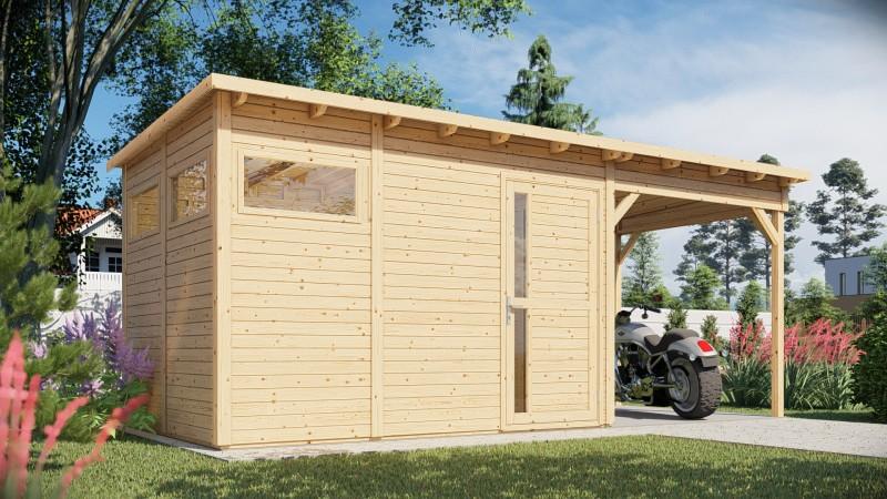 Gerätehaus Modell Pulti mit Anbau Größe 3 natur