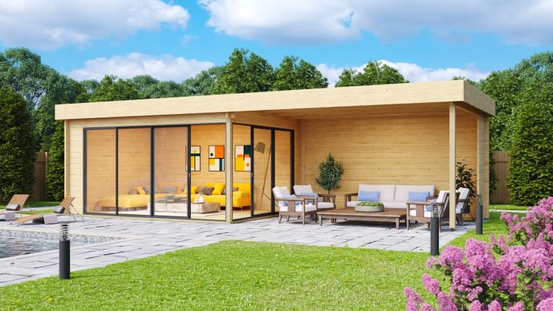 Gartenhaus Alu Concept 44 A mit Anbau