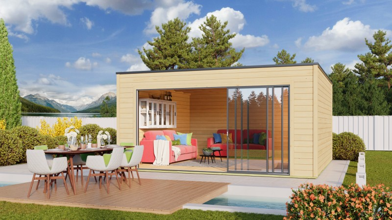 Kubus Gartenhaus Modell QBIC Alu 44 E