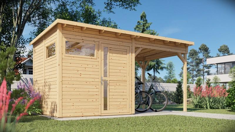 Gerätehaus Modell Pulti mit Anbau Größe 2 natur