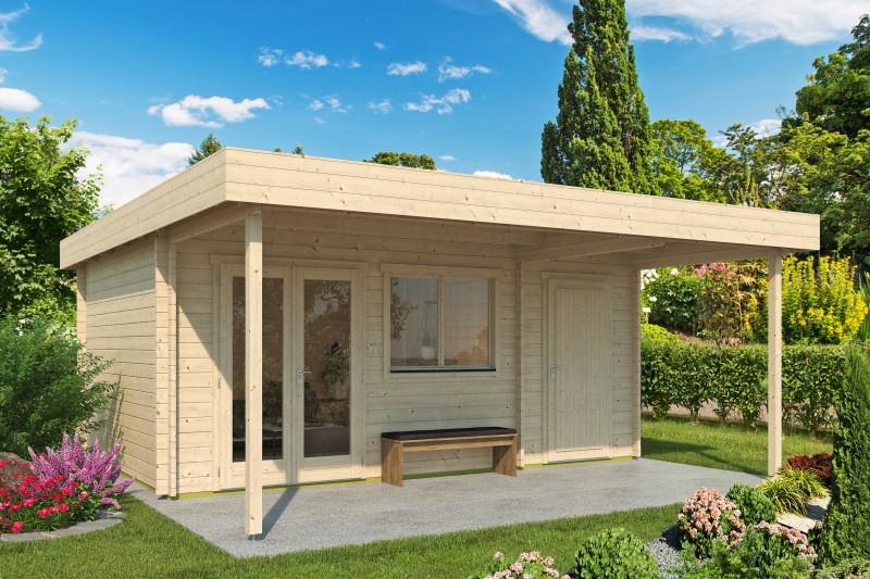 Gartenhaus Modell Kurt 44 D mit Vordach