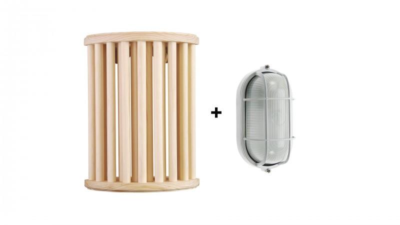 Saunaleuchten Set aus Pinienholz