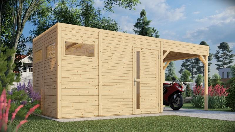 Gerätehaus Modell Cube mit Anbau Größe 3 natur