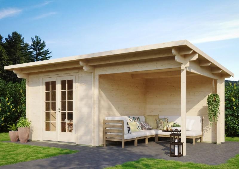 Pultdach Gartenhaus Modell Jacob 44 A mit Seitendach