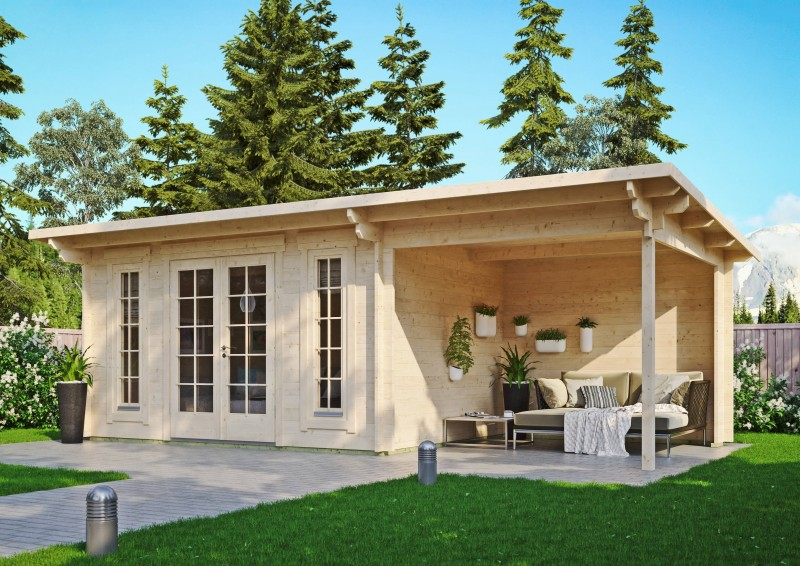 Pultdach Gartenhaus Modell Jacob 44 B mit Seitendach