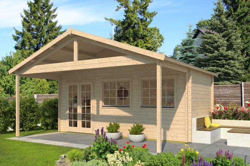 Gartenhaus Modell Rolf 44 A mit Vordach