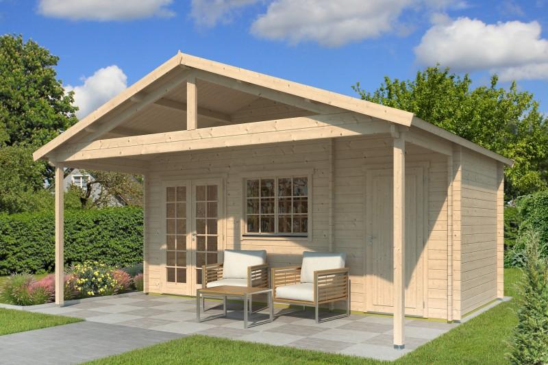 Gartenhaus Modell Rolf 44 D mit Vordach
