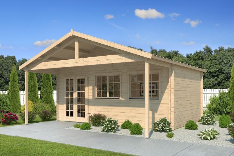 Gartenhaus Modell Rolf 44 B mit Vordach